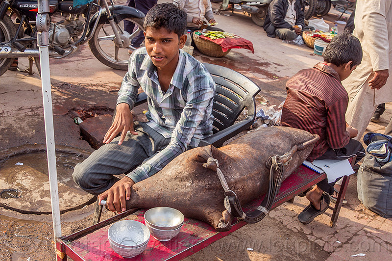 goat-skin water bag (india), bowls, boy, delhi, goat skin, islam, leather, man, milk bag, muslim, selling, street market, street vendor, traditional, water bag, water container