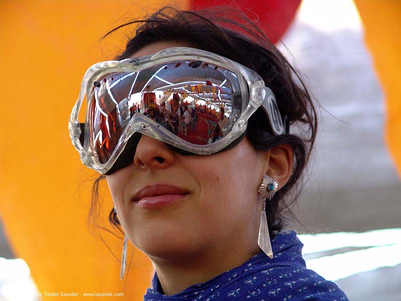 goggles - burning-man 2004, burning man, center camp, goggles, reflection, woman