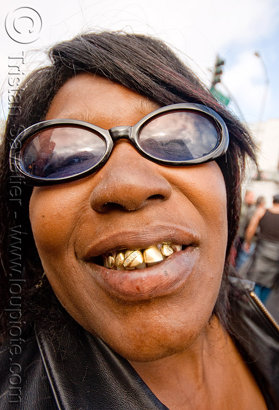 gold teeth smile, dore alley fair, gold teeth, smile, woman