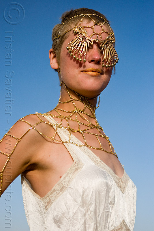 golden chain mesh jewelry - fashion show, astrid, burning man, chains, people, woman