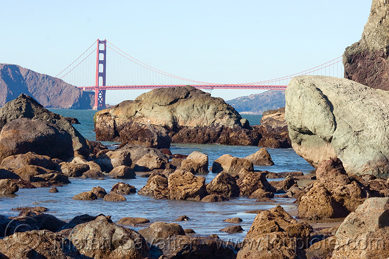 golden gate bridge, coast, golden gate bridge, rocks, suspension bridge