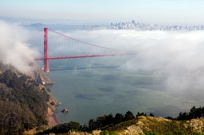 golden gate bridge and san francisco bay in the fog, buildings, city, fog, golden gate bridge, ocean, san francisco bay, sea, seashore, shore, suspension bridge, water