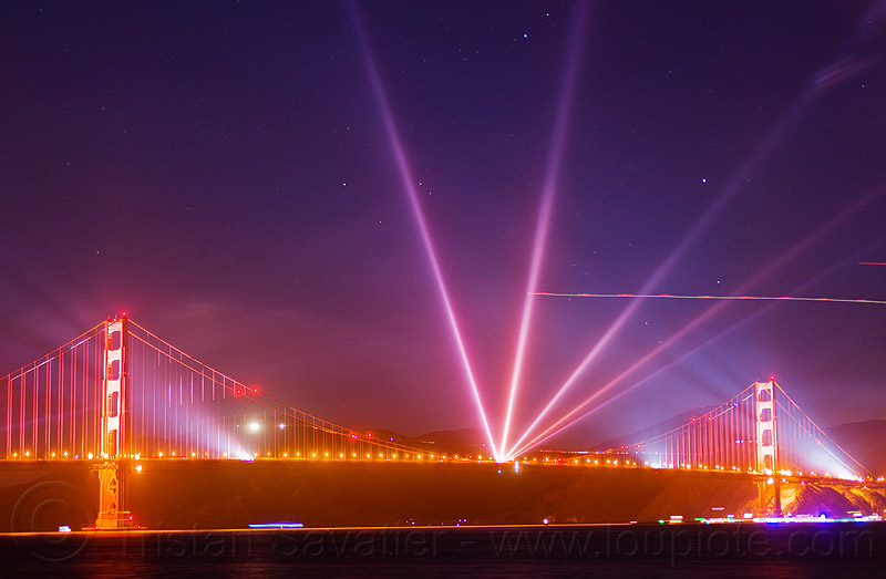 golden gate bridge anniversary - lightshow, 75th anniversary, golden gate bridge, lightshow, long exposure, night, stars, suspension bridge