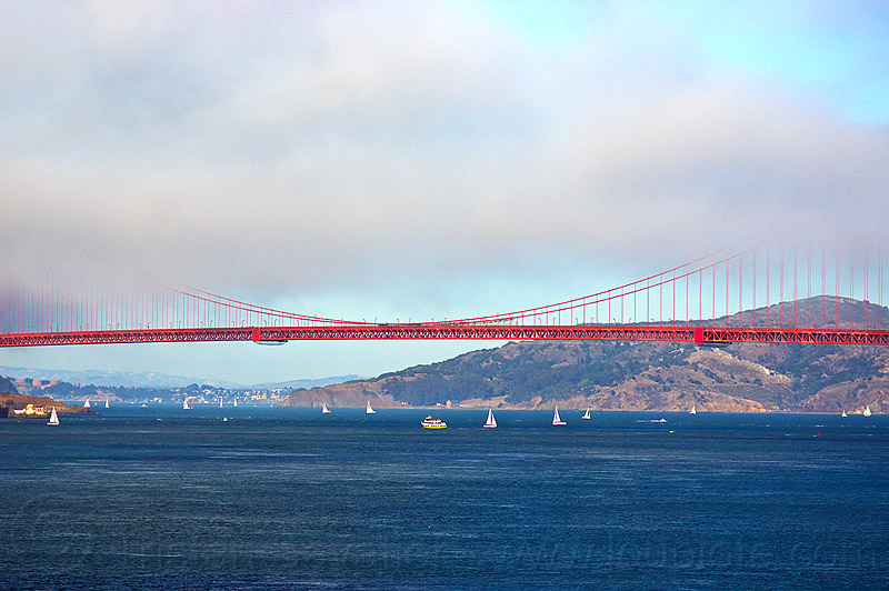 golden gate bridge span in the fog, angel island, boats, coast, fog bank, hill, ocean, sailboats, san francisco bay, sea, suspension bridge