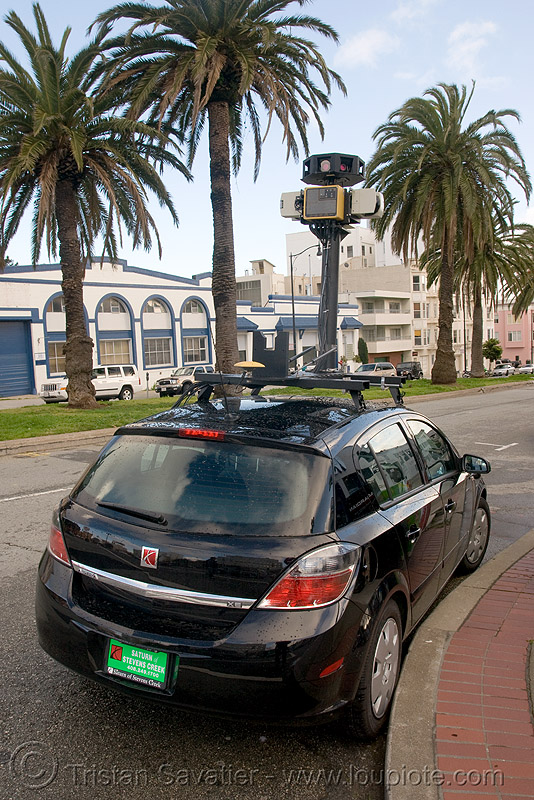 googlenetta - car with cameras used by google for google maps street view (san francisco), 360 degree camera, 3d sensors, big brother, cameras, car, digital mapping, google maps street view, google street view, googlenetta, immersive media, mobile data collection vehicle, mobile mapping, privacy, remote sensors, scanners, sick ag, spying, telemetry