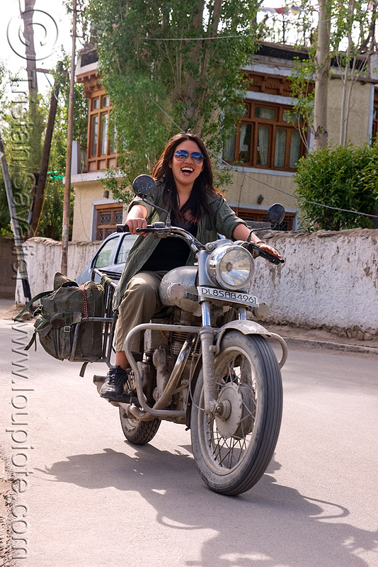 grace - woman riding royal enfield motorcycle - leh (india), 350cc, grace, ladakh, motorbike touring, motorcycle touring, motorcyclist, rider, riding, royal enfield bullet, street, woman