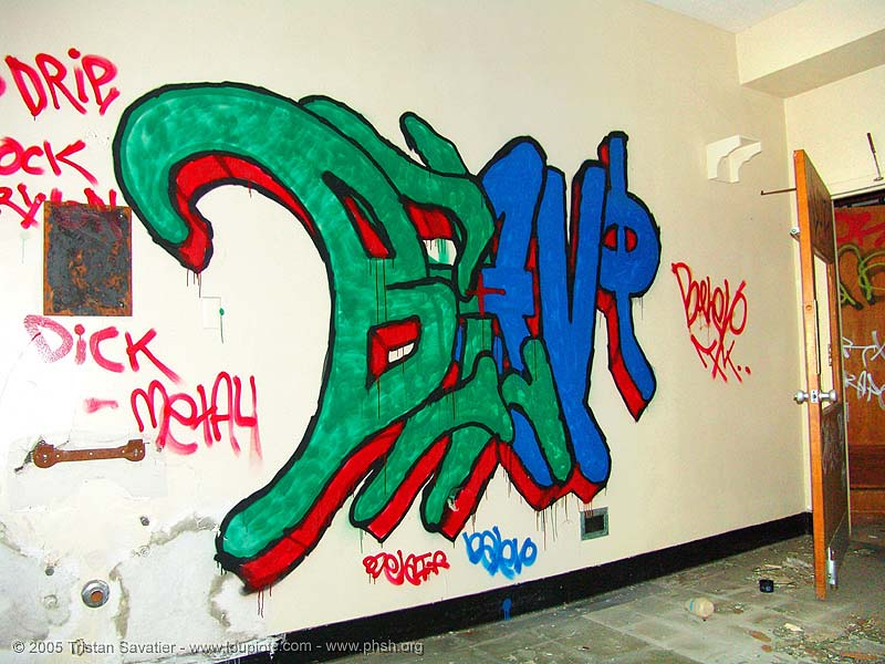 graffiti-belevo - abandoned hospital (presidio, san francisco) - phsh, abandoned building, abandoned hospital, belevo, graffiti, presidio hospital, presidio landmark apartments, trespassing