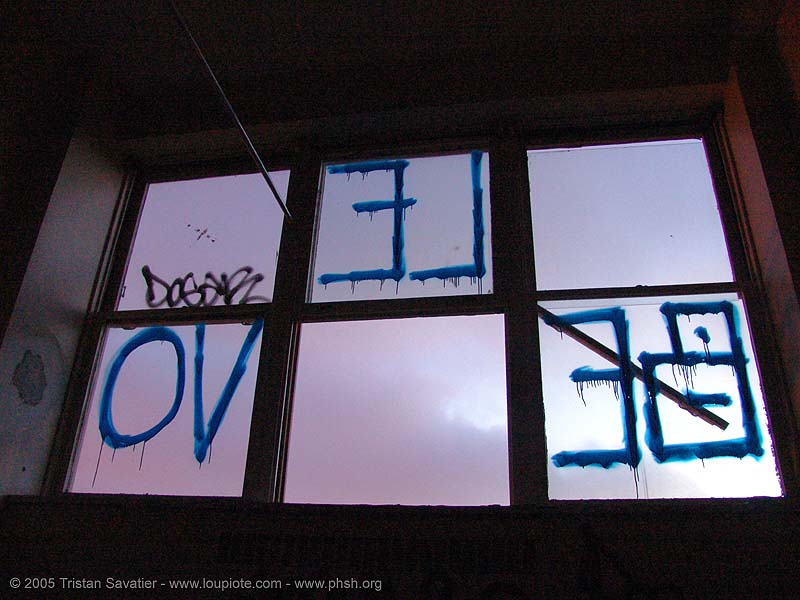 graffiti-belevo - window - abandoned hospital (presidio, san francisco) - phsh, abandoned building, decay, presidio hospital, presidio landmark apartments, trespassing, urban exploration
