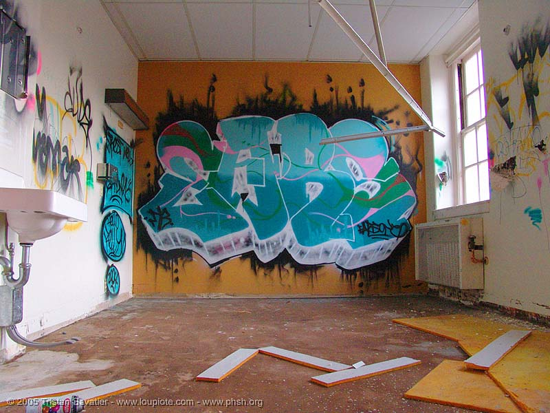 graffiti-ears - abandoned hospital (presidio, san francisco) - phsh, abandoned building, abandoned hospital, ears, graffiti, presidio hospital, presidio landmark apartments, trespassing