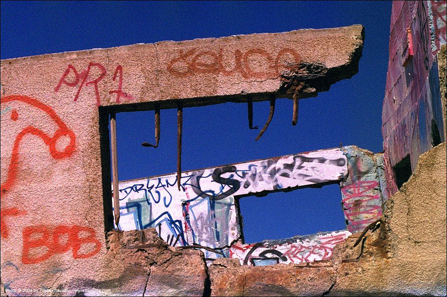 graffiti - windows, concrete, lands end, ruins