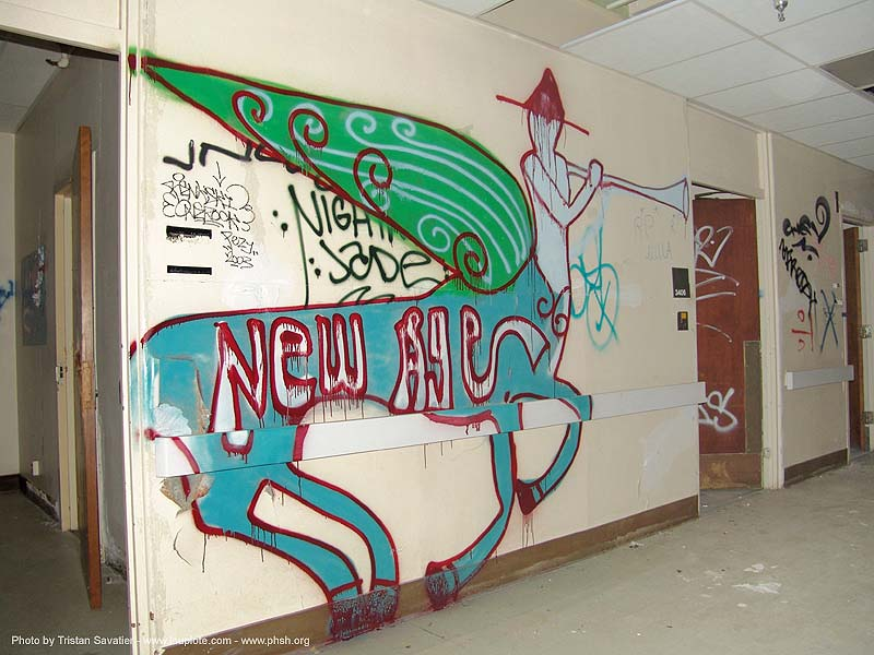 graffiti-new-age - abandoned hospital (presidio, san francisco) - phsh, abandoned building, decay, presidio hospital, presidio landmark apartments, salt, trespassing, urban exploration