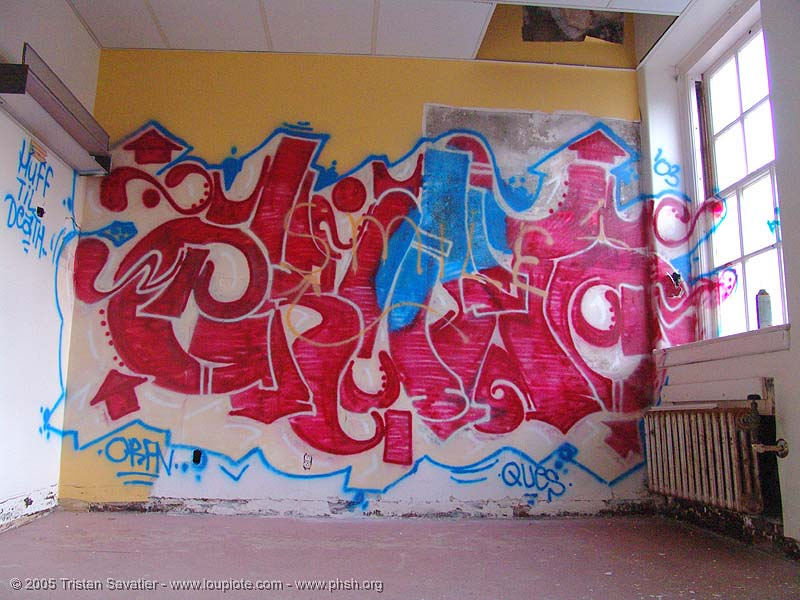graffiti-orfn - abandoned hospital (presidio, san francisco) - phsh, abandoned building, abandoned hospital, decay, erupto, graffiti, presidio hospital, presidio landmark apartments, trespassing, urban exploration