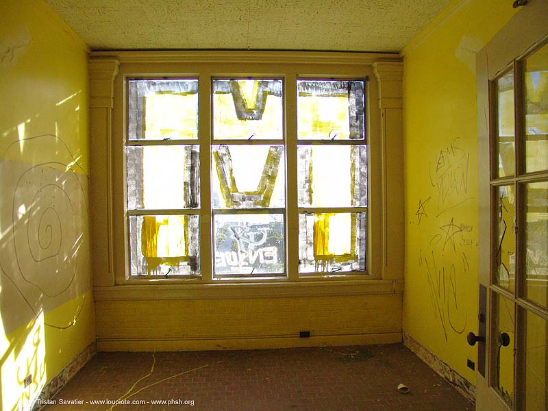 graffiti - window - abandoned hospital (presidio, san francisco) - phsh, abandoned building, abandoned hospital, decay, graffiti, presidio hospital, presidio landmark apartments, trespassing, urban exploration, window