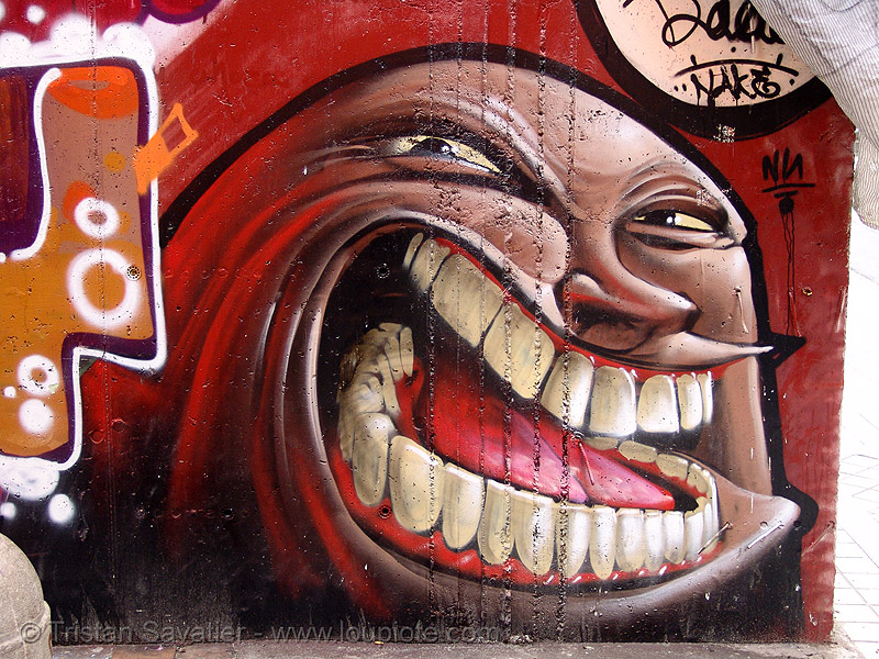 graffiti with teeth, andalucía, graffiti, granada, mouth, street art, teeth