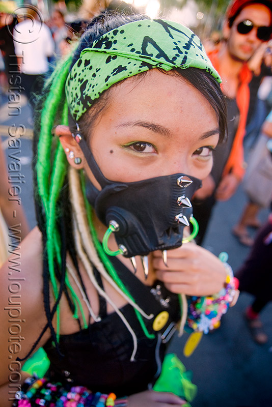 graver - candy kid with face mask - twisted jessikr, asian woman, cyber fashion, face mask, festival, graver, green, kandi kid, kandi raver, love fest, lovevolution, plur, raver outfits, spikes, twisted jessikr
