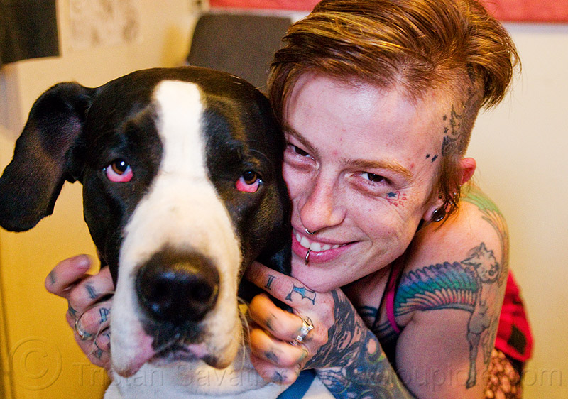 great dane dog, dog, great dane, head, leah, red eyes, snout, tattooed, tattoos, woman