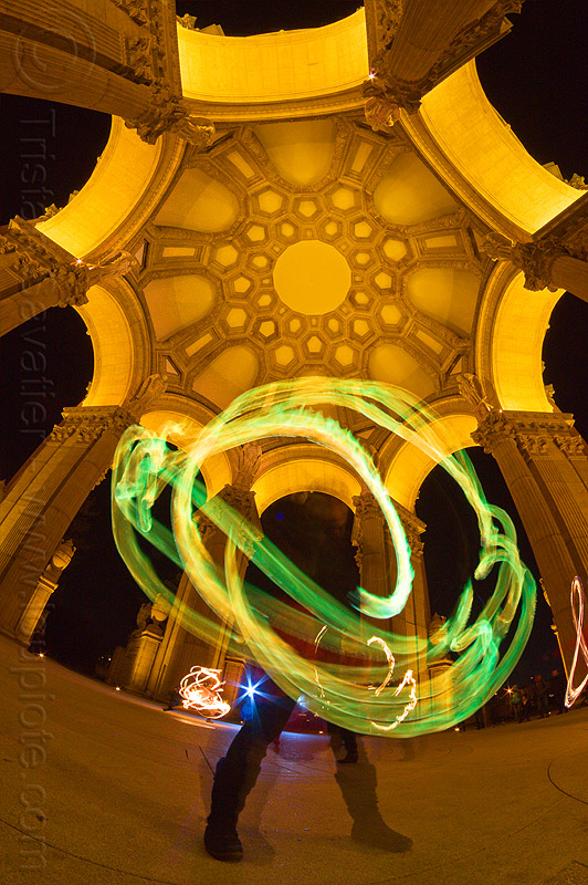 green fire trails under the dome of the palace of fine arts, arches, fire dancer, fire dancing, fire performer, fire spinning, flame, green flames, long exposure, mel, night, people, vaults