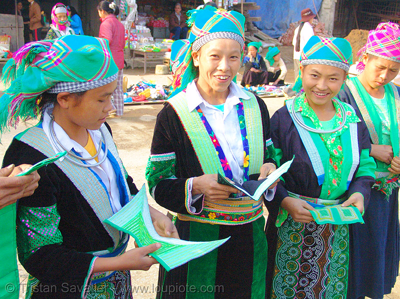 green hmong tribe girls - vietnam, asian woman, asian women, bảo lạc, green h'mong tribe, green miao, hill tribes, hmong njua, indigenous, lub dab tsho, mong njua, tribe girls