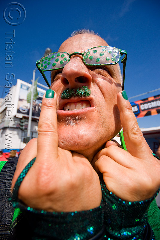 green man - up your alley fair (san francisco), bruce beaudette, eyeglasses, eyewear, fingers, glasses, man, polka dots, spectacles