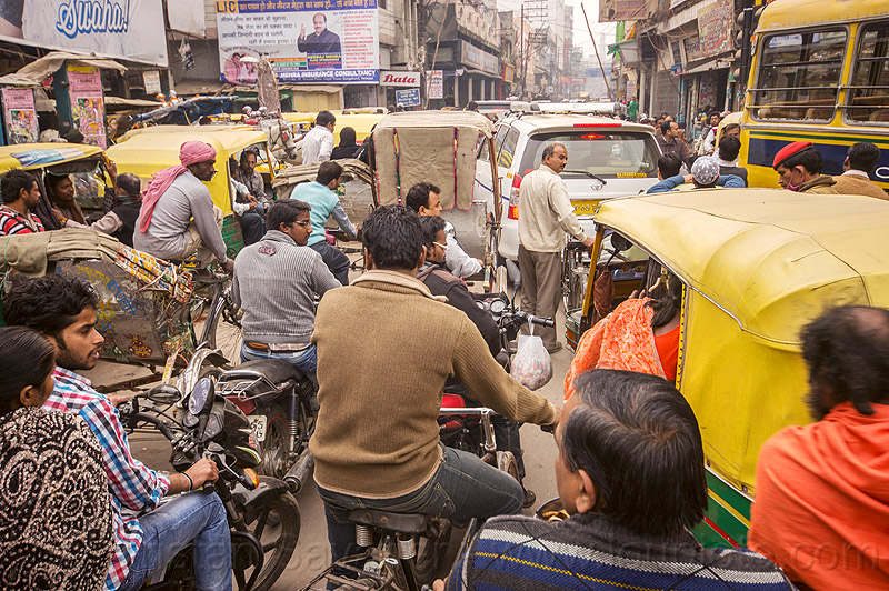 gridlock - traffic jam (india), auto rickshaw, bicycles, bikes, bus, car, crowd, cycle rickshaws, motorbikes, motorcycles, people, street, varanasi