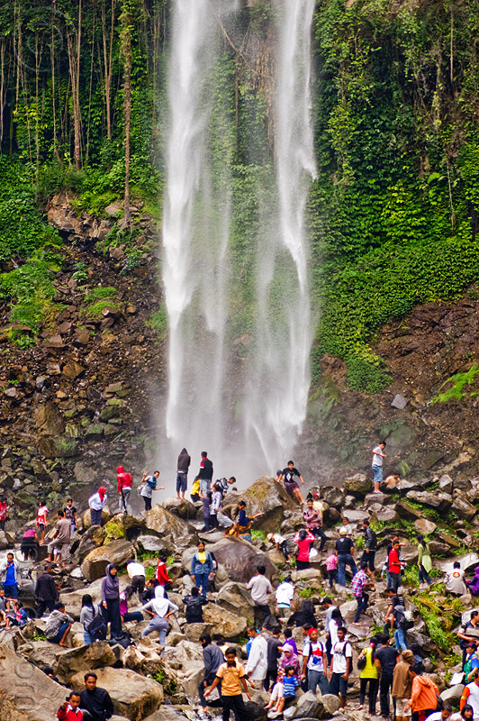 grojogan sewu waterfall, crowd, falls, grojogan sewu, indonesia, mountains, rocks, waterfall