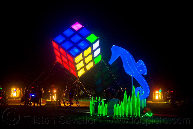 groovik's cube - giant rubik's cube and seahorse art car - burning man 2009, night, rubik cube