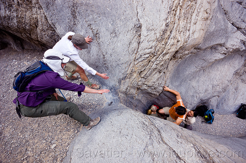 grotto canyon - dry fall, climbing, death valley, desert, gravel, mountain, narrow, people, rock, rock climbing, sharon, slot canyon, stone
