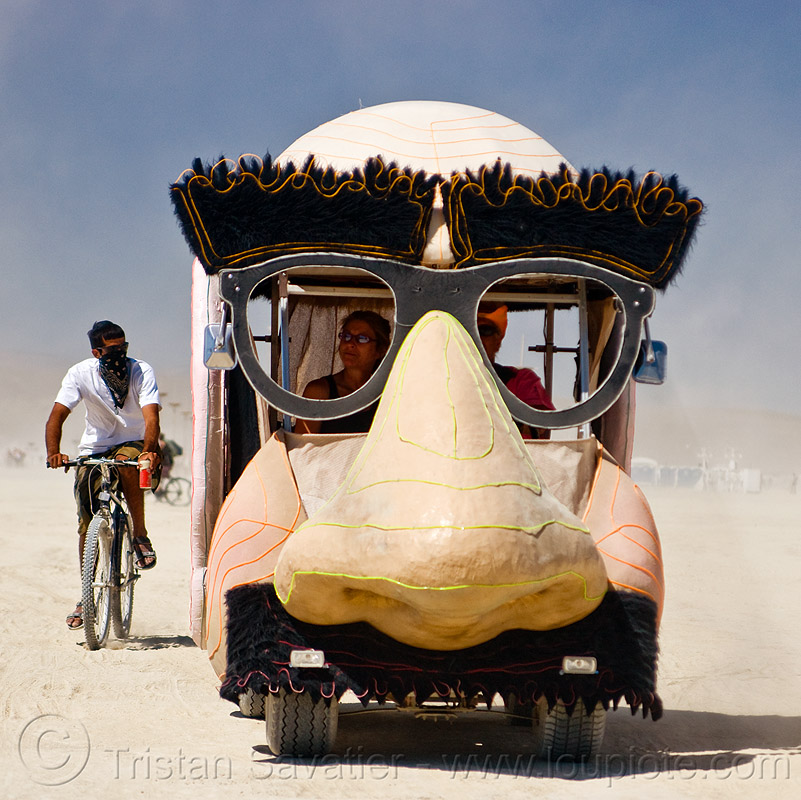 groucho marx art car, burning man, eyebrows, incognito mobile, nose, people