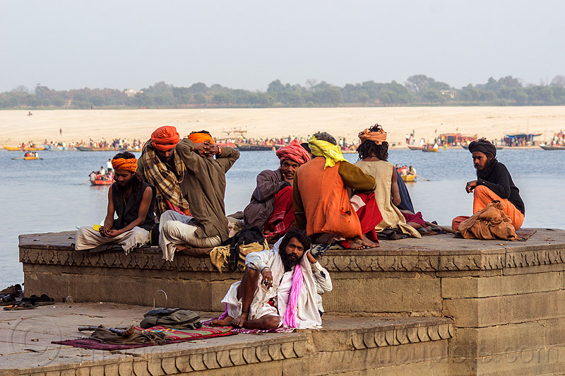 group of hindu men on the ghats of varanasi (india), babas, ganga river, ganges river, ghats, hindu, hinduism, men, river bank, sadhus, sitting, varanasi, water