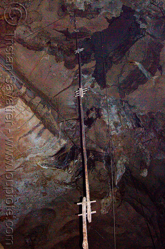 birds nest collectors climbing poles in natural cave (borneo), birds-nest, caving, niah, niah caves, pole, spelunking, wooden