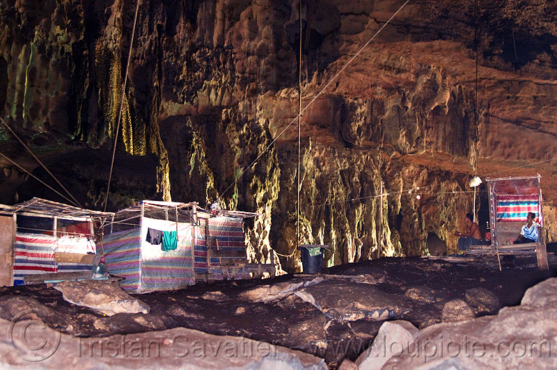 natural cave (borneo), bird-nest gatherers, birds-nest, cabin, camp, caving, men, niah, niah caves, people, resting, sitting, spelunking