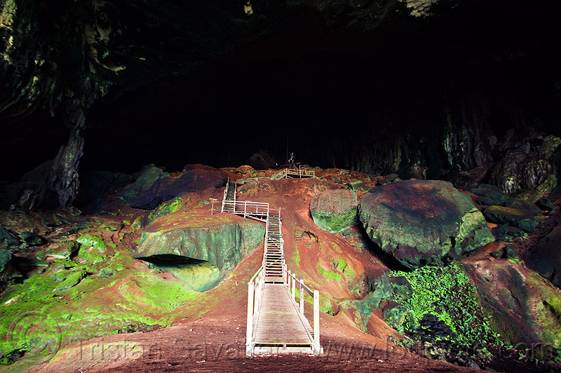 gua niah - walkway in huge natural cave - niah caves (borneo), caving, gua niah, natural cave, niah caves, pathway, spelunking, walkway