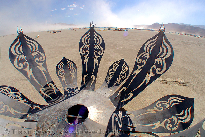 guardian of eden - metal flower - burning man 2007, art installation, burning man, metal flower, metal sculpture, steel