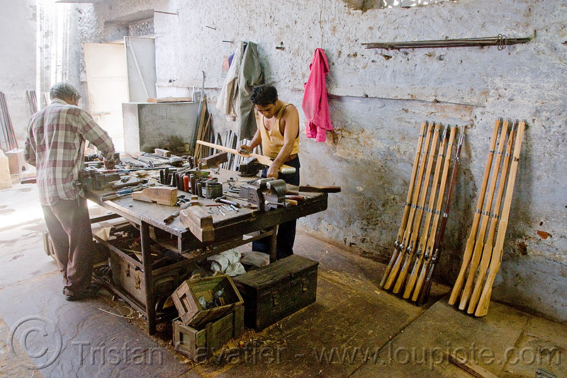 gun factory - udaipur (india), antique, antique guns, fire arms, people, rajasthan armoury, replicas, shotguns, weapons, worker