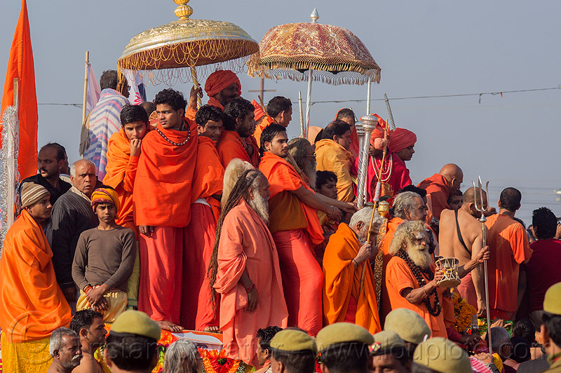gurus and hindu devotees on parade float - kumbh mela (india), amavasya, crowd, hinduism, kumbh maha snan, kumbha mela, maha kumbh, maha kumbh mela, mauni amavasya, people, procession, umbrellas