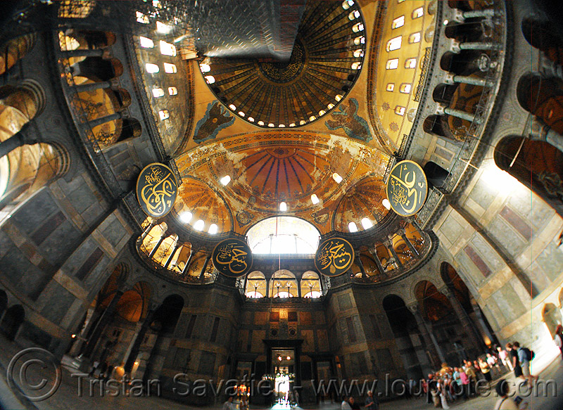 aya sofya - interior (istanbul), arabic, aya sofya, byzantine architecture, calligraphy, church, fisheye, hagia sophia, inside, interior, islam, mosque, orthodox christian, religion