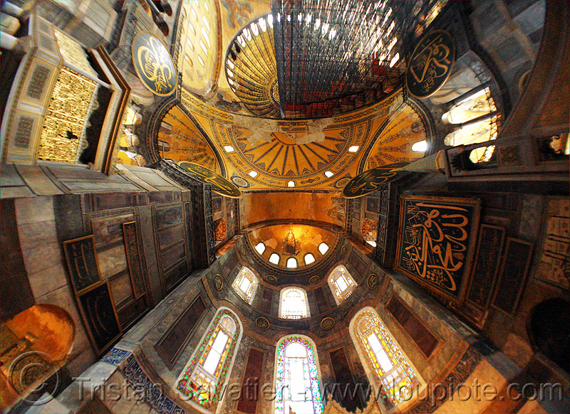 hagia sophia interior (istanbul), arabic, aya sofya, byzantine architecture, calligraphy, church, fisheye, hagia sophia, inside, interior, islam, mosque, orthodox christian, religion
