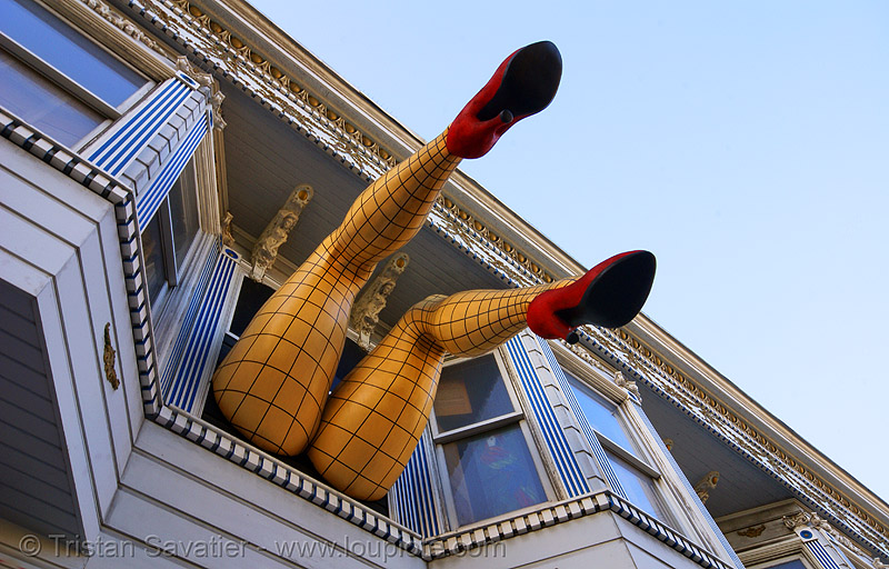 haight street madame (san francisco, california), exterior, fishnet clothing, fishnet stockings, haight street, heels, piedmont, red, shoes, tights, victorian house, windows, woman