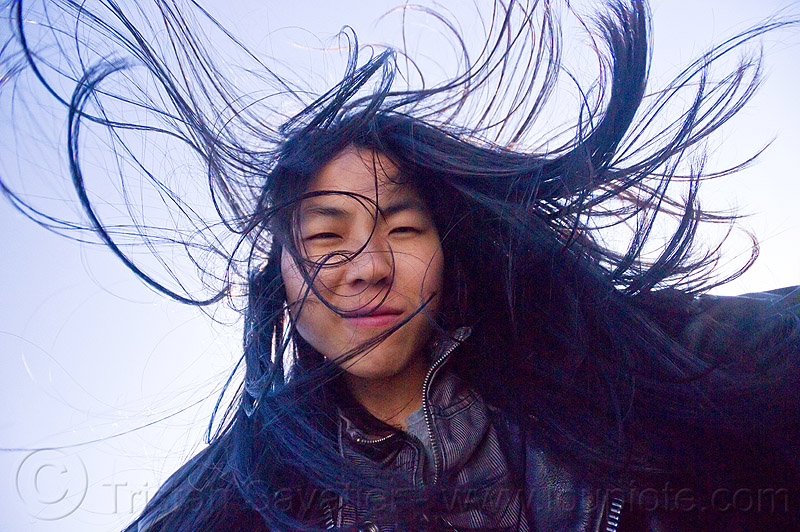 hair in the wind, black hair, chinese woman, long hair, wind, windy