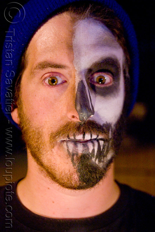 half skull makeup - dia de los muertos - halloween (san francisco), day of the dead, face painting, facepaint, half face, man, matthew, night, people