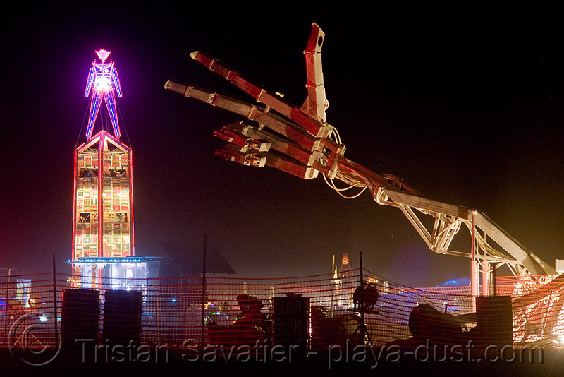 hand of man (and the man) - burning man 2008, art, burning man, giant arm, hand of man, hydraulic, mecanical, night, robotic, the man