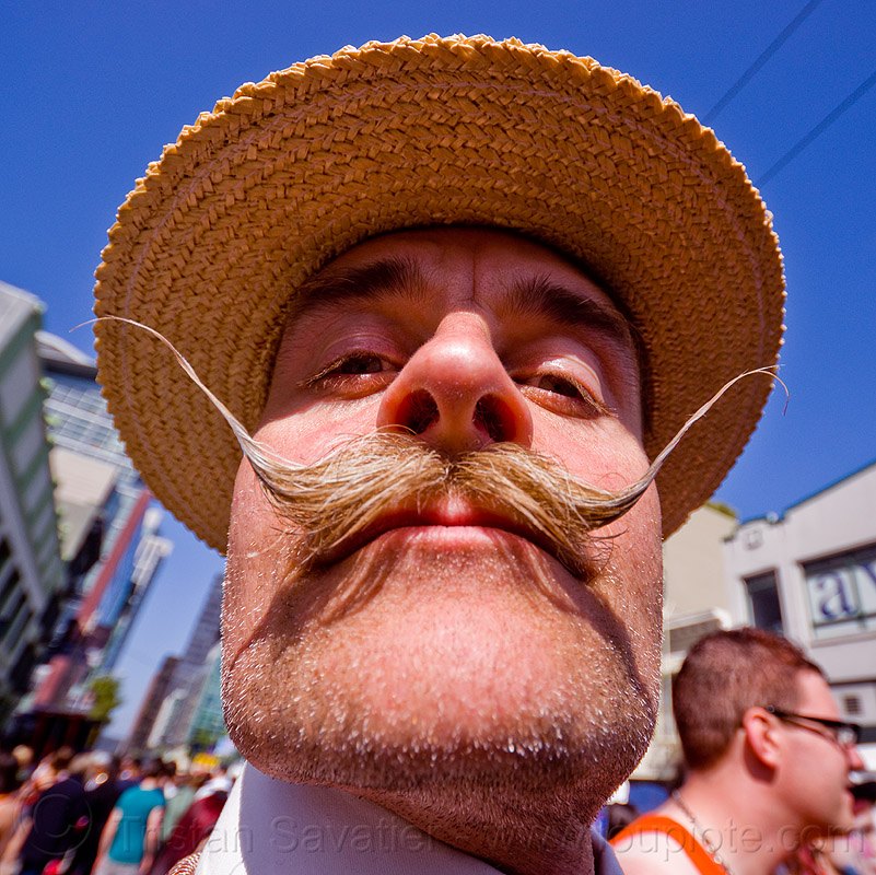 handlebar mustaches - straw hat, festival, how weird festival, man, moustaches, people, randal smith, waxed mustaches