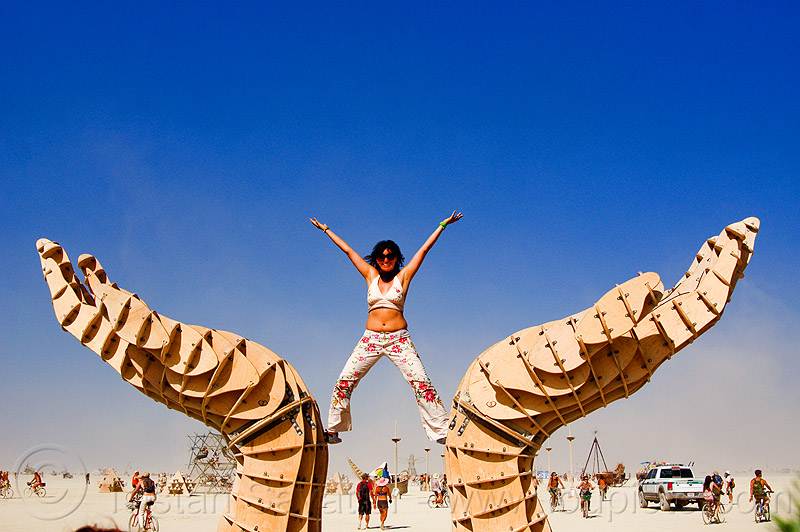 hands sculpture - burning man 2013, arms up, art installation, burning man, david gerler, hands, sculpture, standing, woman, wooden frame