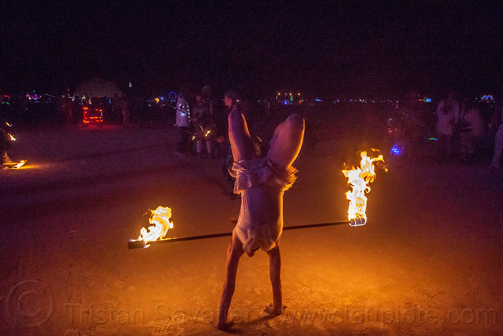handstand with fire staff - burning man 2015, burning man, fire dancer, fire dancing, fire performer, fire spinning, fire staff, handstand, night, woman