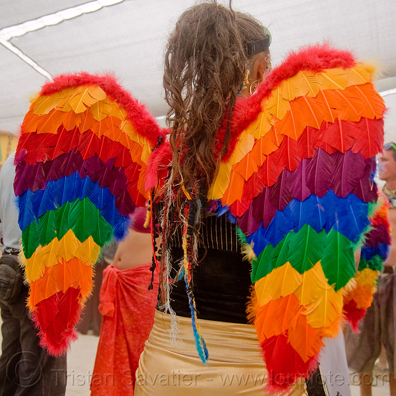 hannah the rainbow angel - burning man 2009, angel wings, feathers, people, rainbow colors, woman
