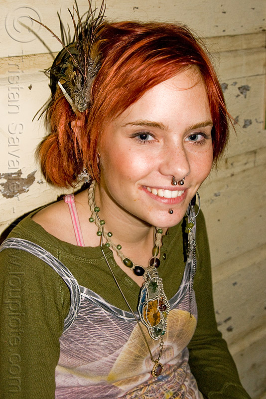 hannah - redhead - tribal jewelry - young woman, earrings, hannah, jewelry, necklace, nose piercing, oakland, red hair, redhead, septum piercing, woman