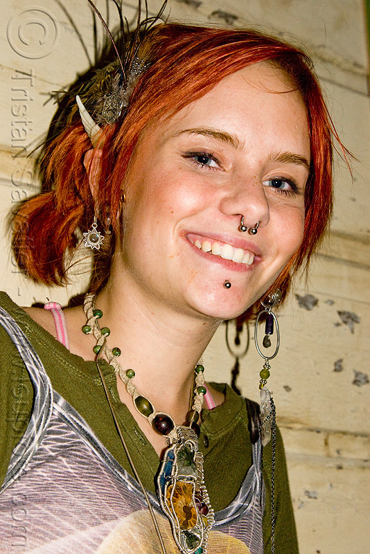 hannah - young woman with read hair and tribal jewelry, earrings, necklace, nose piercing, oakland, people, red hair, redhead, septum piercing