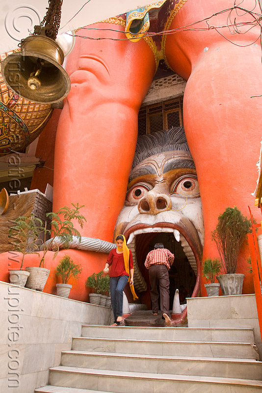 hanuman temple - delhi (india), bell, entrance, gate, head, hindu, hindu temple, hinduism, legs, mouth, people, red legs, stairs, street