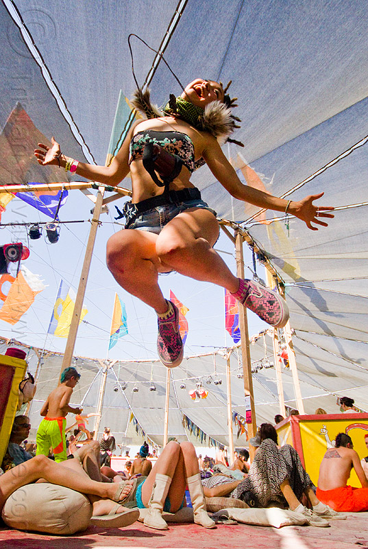 happy japanese girl - burning man 2013, akari, burning man, center camp, japanese, jump, jumpshot, woman
