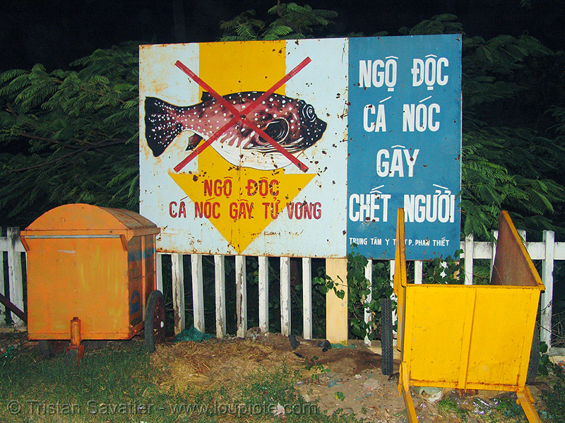 hazard sign - this fish is poisonous! - vietnam, hazard sign, poisonnous fish, warning sign